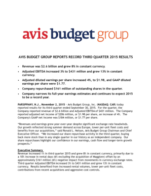 AVIS BUDGET GROUP REPORTS RECORD THIRD QUARTER 2015 RESULTS