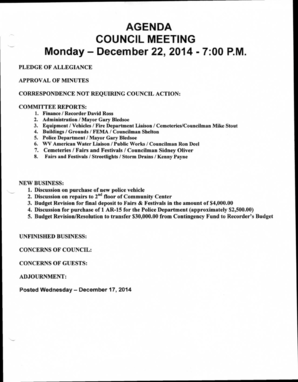 AGENDA COUNCIL MEETING Monday December 22 2014 - 700 PM