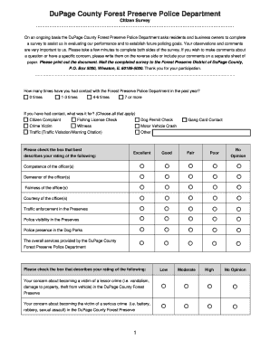 citizen survey citizen survey published by the forest preserve district of dupage county office of law