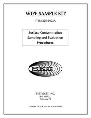Wipe Sample Test Kit Operating Instructions PDF - SKC Inc