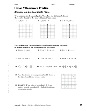 chapter 5 triangles and pythagoren theorem lesson 7 distance on the