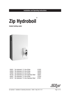 Installation and Operating Instructions Zip Hydroboil Instant boiling water HS001 Zip Hydroboil 1