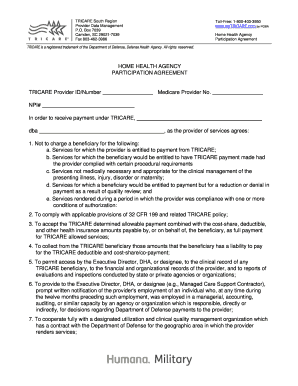 MyTRICARE By PGBA Home Health Agency Participation Agreement TRICARE Is A Registered Trademark Of