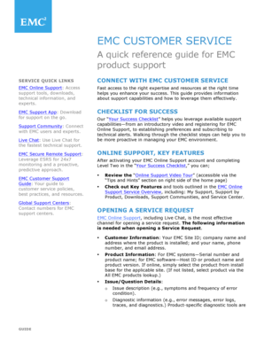 Fillable Online EMC Customer Service Quick reference guide