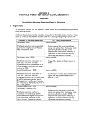 fillable online appendix b non public interest tsx company manual rh pdffiller com tsx company manual burn rate tsx company manual english