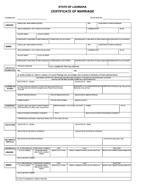 state of louisiana certificate of marriage