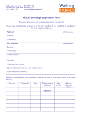 worthing homes mutual exchange form