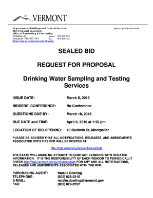 SEALED BID REQUEST FOR PROPOSAL Drinking Water Sampling and