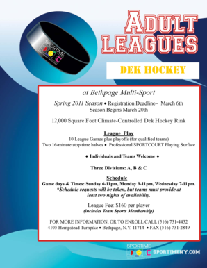 Fillable Online BM Adult Dek Hockey App winter10