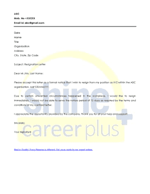 fillable immediate resignation letter no notice edit online