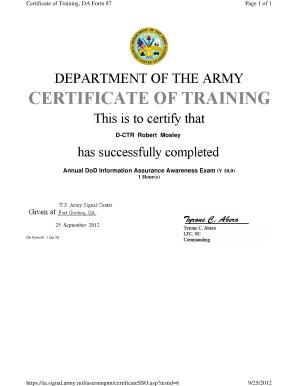 Army Training Alms