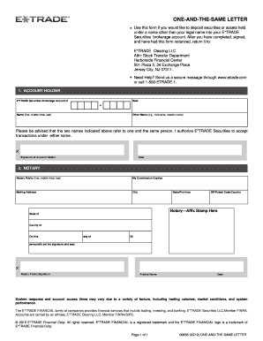 One And The Same Letter Etrade   Fill Online, Printable, Fillable