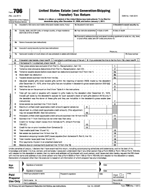 Form 706 (Rev. July 2011). United States Estate (and Generation-Skipping Transfer) Tax Return