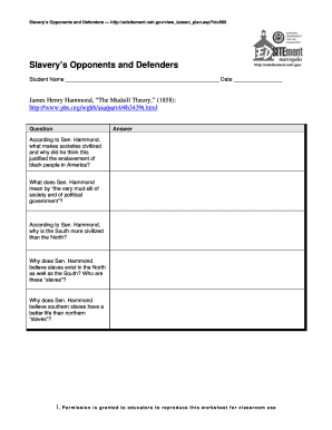 slaverys opponents and defenders worksheet fill online printable fillable blank pdffiller. Black Bedroom Furniture Sets. Home Design Ideas