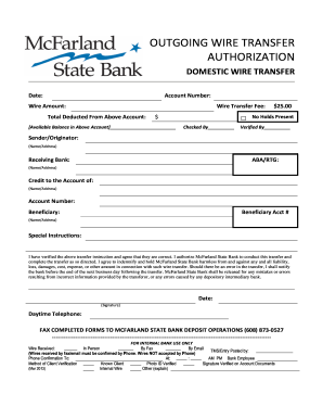 Fillable Online Wire Transfer Authorization Form Mcfarland