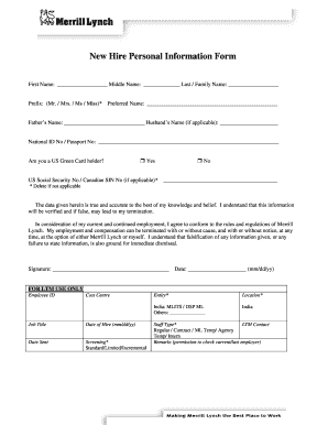 Fillable Online New Hire Personal Information Form - Merrill Lynch ...