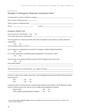 Appendix C: Example of Emergency Response Evaluation Form