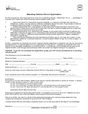 Fillable Online dnr illinois Standing Vehicle Permit Application ...