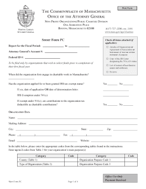 Fillable Online mass Short Form PC - Mass.Gov Fax Email Print ...