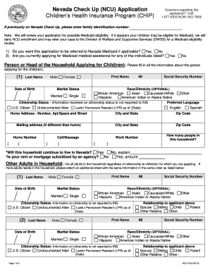 Nevada Check Up Application - Fill Online, Printable, Fillable ...