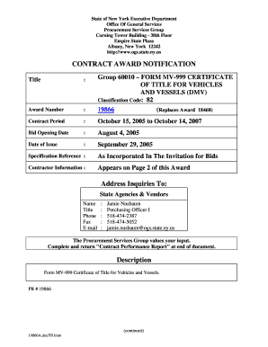 certificate of title mv 999 form
