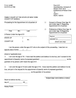 image regarding Free Printable Guardianship Forms referred to as 19 Printable guardianship styles ny Templates - Fillable