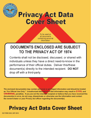 Privacy Act Data Cover Sheet Dd Form 2923