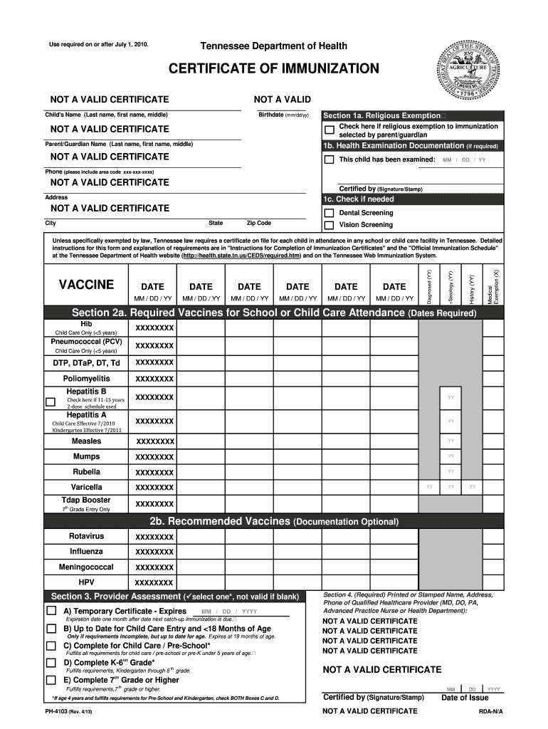 state of tennessee immunization form