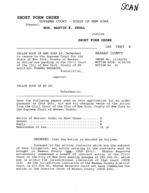 Short form order supreme court - decisions courts state ny