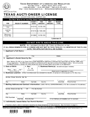 How To Get A Texas License >> Fillable Online Tdlr State Tx Texas Auctioneer License