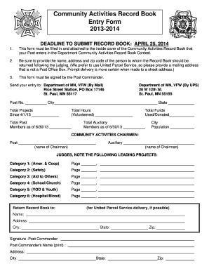 Fillable Online Community Service Record Book Entry/Summary Form ...
