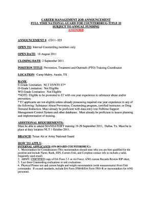 CAREER MANAGEMENT JOB ANNOUNCEMENT. Word Sample Form - agd state tx