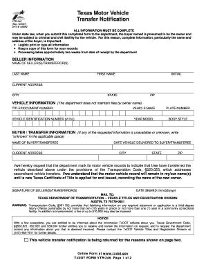 Texas Motor Transfer Notification Vtr 346 Rev 82007 - Fill Online ...