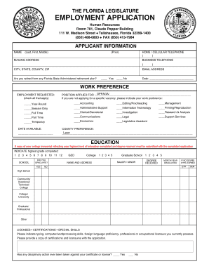 bill of sale form the florida legislature employment application