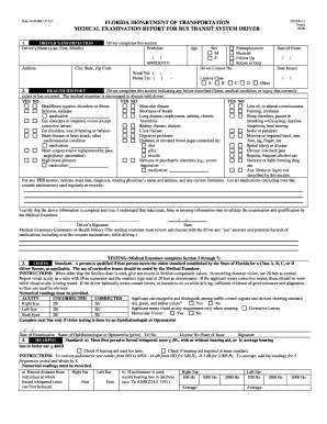 Fillable online dot state fl medical examination for bus for Motor vehicle reports online