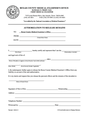 Fillable Bexar County Body Release Form - Schaetter Funeral Home - gov ... Molecular Clock Human