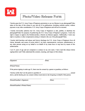 Photo/Video Release Form - U.S. Army - lrb usace army