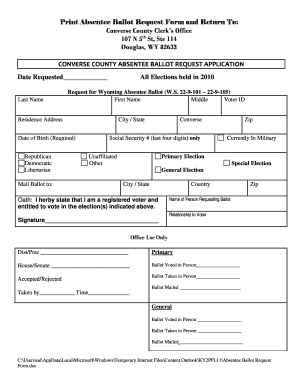 Fillable Online conversecounty Print Absentee Ballot Request Form ...