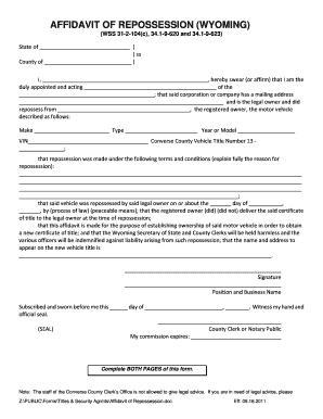 Bill of sale form wyoming affidavit of vehicle ownership for Affidavit for repossessed motor vehicle texas form