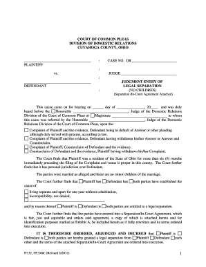separation agreement form