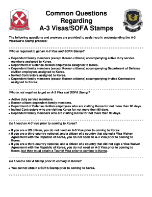 Fillable Online 8tharmy korea army Common Questions Regarding A-3 Visas/SOFA Stamps - 8th Army - 8tharmy korea army Fax Email Print - PDFfiller