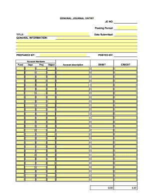General Journal Entry Form Blank - Fill Online, Printable ...
