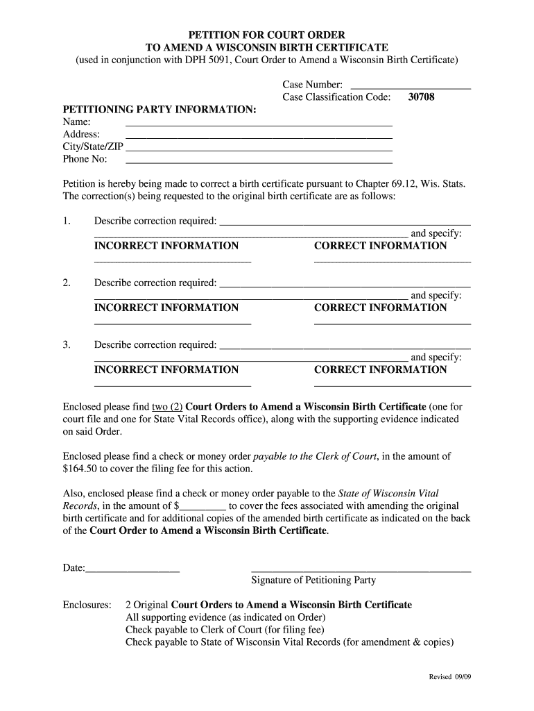 certificate birth wisconsin amend form court order correct sign blank printable fill pdffiller forms correction pdf template misspelled signnow petition