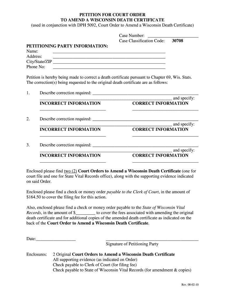 Wisconsin Filing A Death Certificate Fill Online