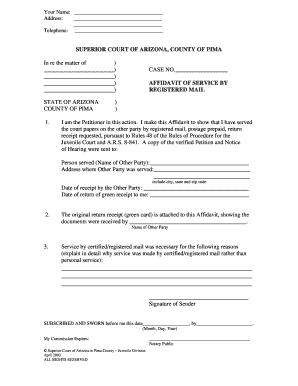 Fillable Online sc pima Affidavit of Service by Registered Mail ...