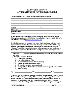 Fillable Online saratogacountyny FOIL Request Form - Saratoga ...