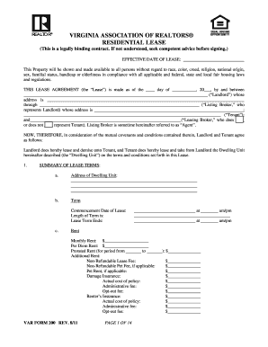 Va Lease - Fill Online, Printable, Fillable, Blank | PDFfiller