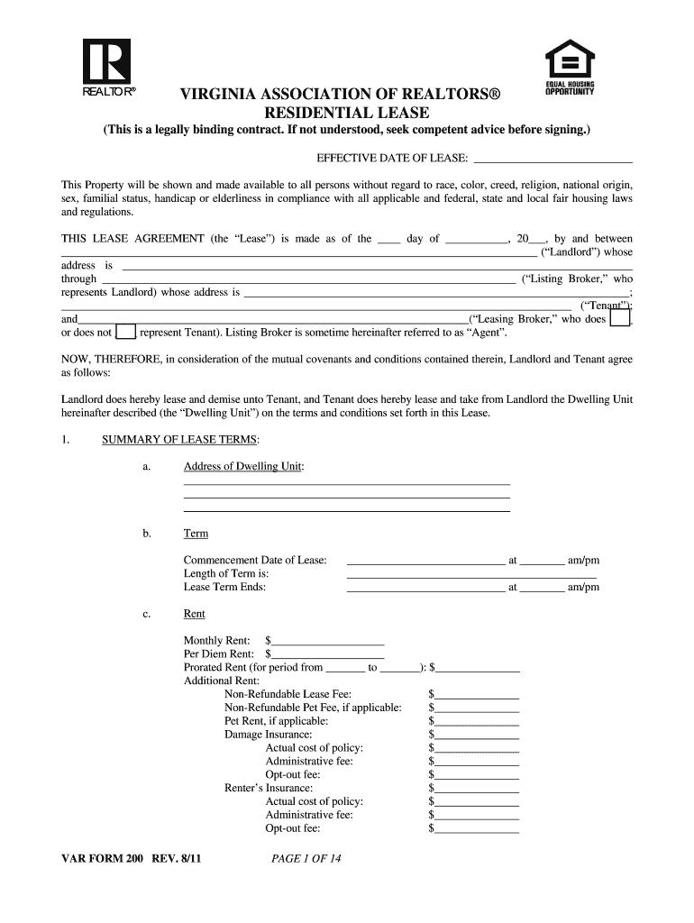 Virginia Association Of Realtors Residential Lease Fill