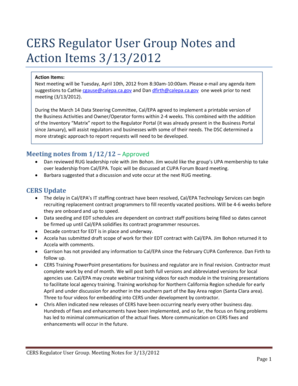 CERS Regulator User Group Meeting Notes and Action Items March 13, 2012. This is a guidance letter to update CUPAs on submission of Annual Summary Reports and Formal Enforcement Summaries - cers calepa ca