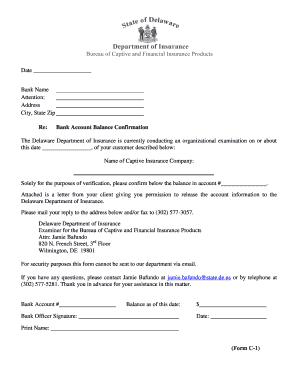 Bank confirmation forms